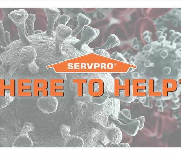 "cells of virus with SERVPRO logo and statement ""Here to Help"""