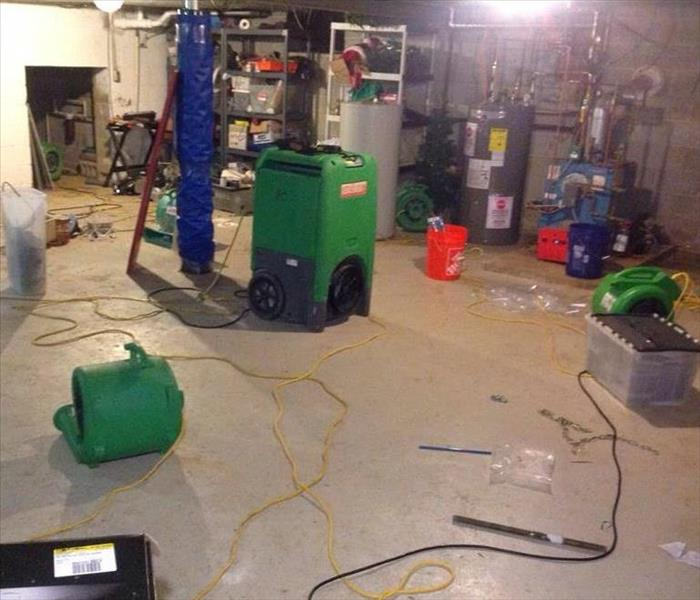 equipment in damaged basement